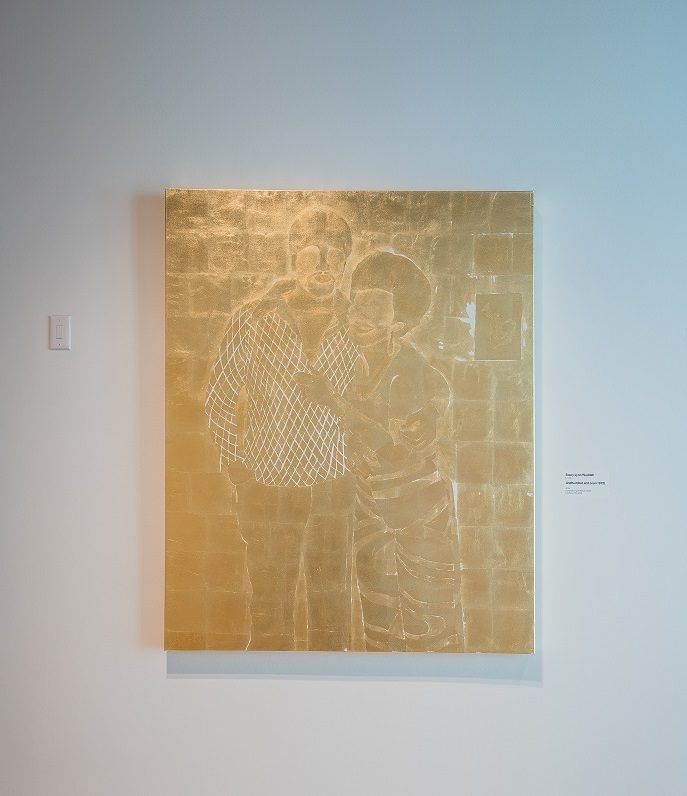 Stacy Lynn Waddell, born 1966, Untitled (Dot and Leon 1972), 2019, composition gold leaf on canvas, 60 in. × 48 in. × 1 1/2 in. (152.4 × 121.9 × 3.8 cm), courtesy of the artist. Photo by Ironside Photography / Stephen Ironside.