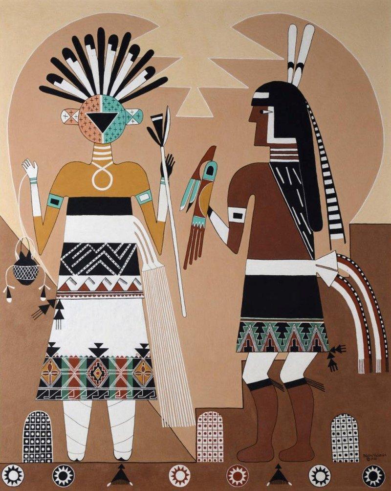Pablita Velarde (Tse Tsan, Golden Dawn) (Santa Clara Pueblo, 1918-2006), Awataba Kiva Mural, 1981, Mineral pigments on board, 44 x 36 inches.