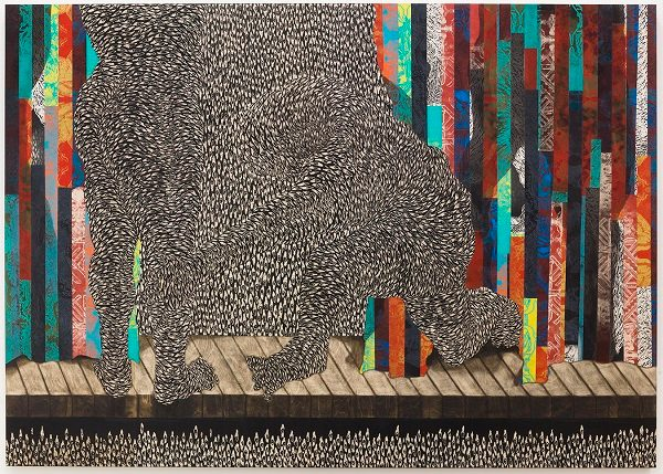 Didier William, Ou ap tonbe, men m ap kenbe ou, 2018, ink, wood carving and collage on panel, 64 × 90 × 2 in. (162.6 × 228.6 × 5.1 cm), courtesy of James Fuentes, New York.