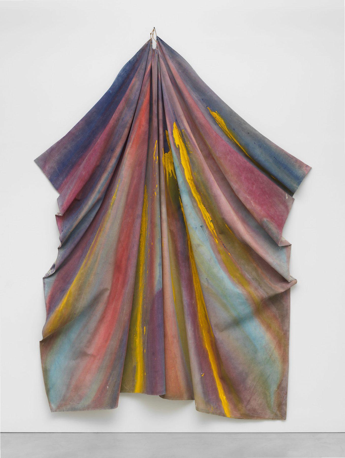 Sam Gilliam (b. 1933, Tupelo, Mississippi), Mazda, 1970, acrylic on canvas, installed: 135 × 90 in. (342.9 × 228.6 cm), Crystal Bridges Museum of American Art, Bentonville, Arkansas, 2020.12.