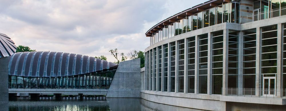 View of Crystal Bridges and water feature