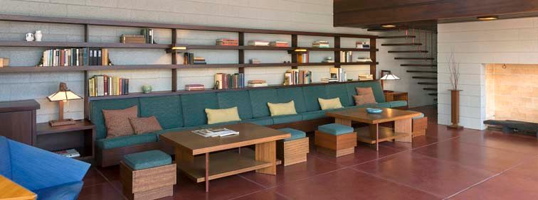 Living room of Frank Lloyd Wright house