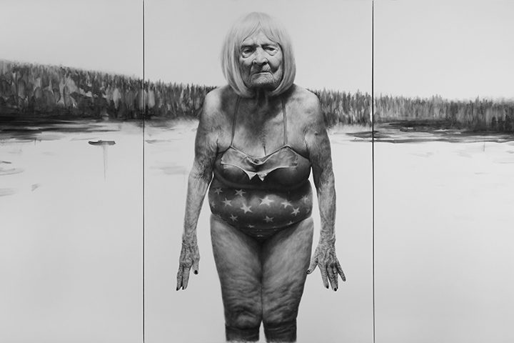 Photo of old woman in bathing suit