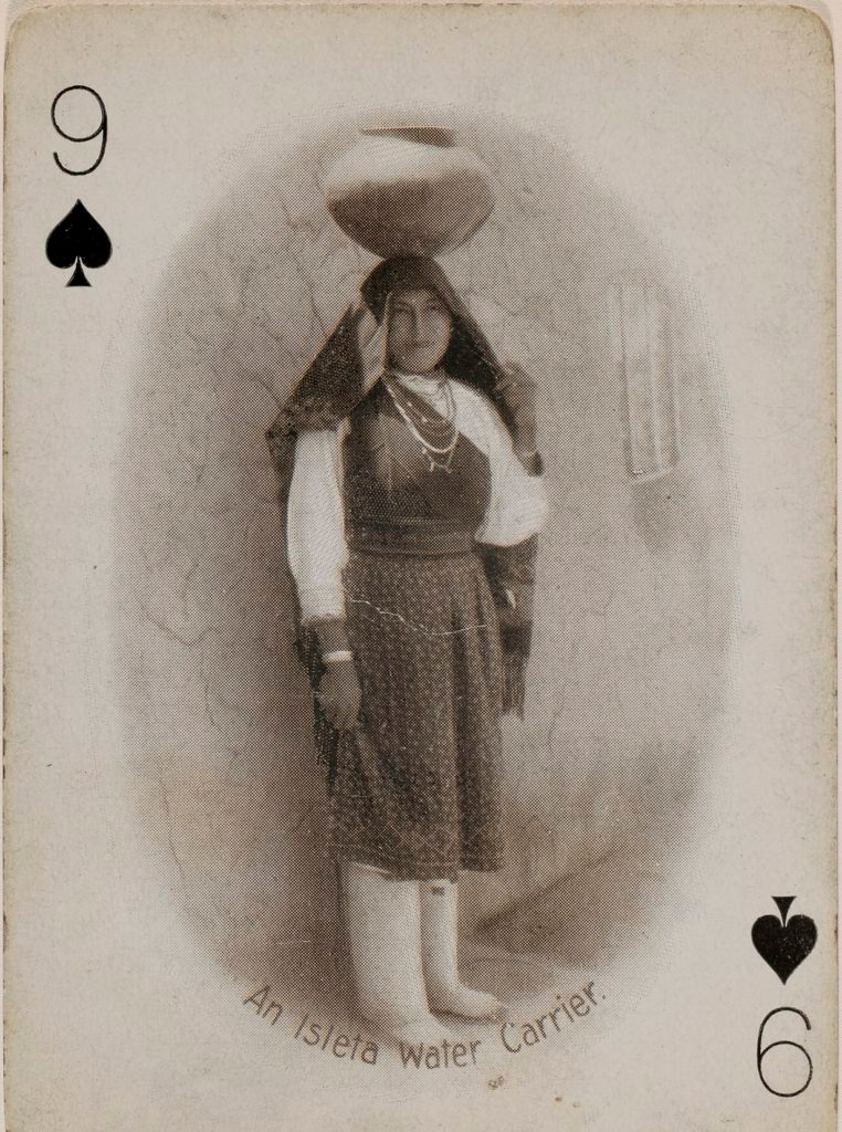 Photo by Adam Clark Vroman of Native woman pictured on playing card