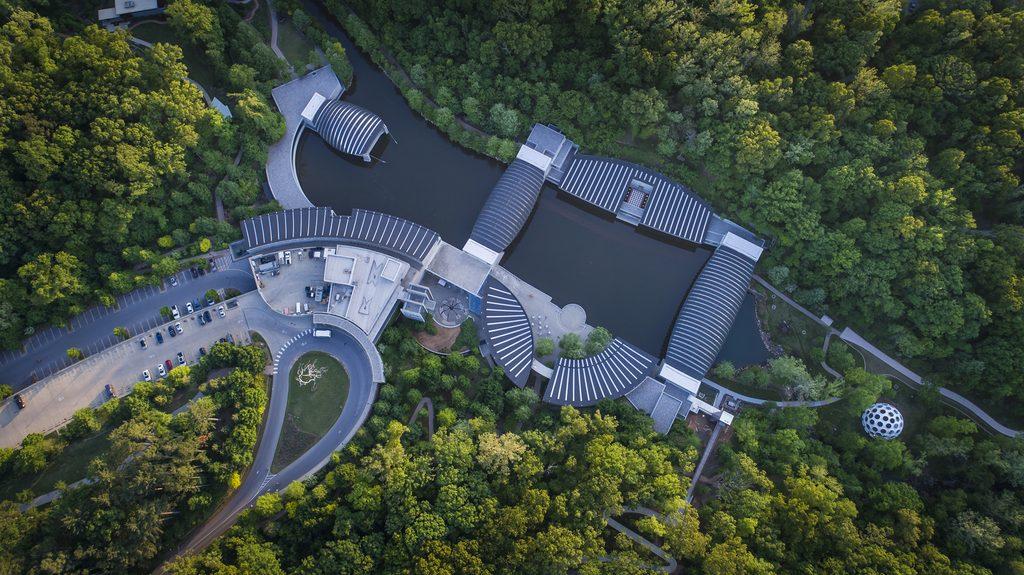 Aerial view of Crystal Bridges
