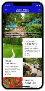 Smartphone with Crystal Bridges outdoor imagery