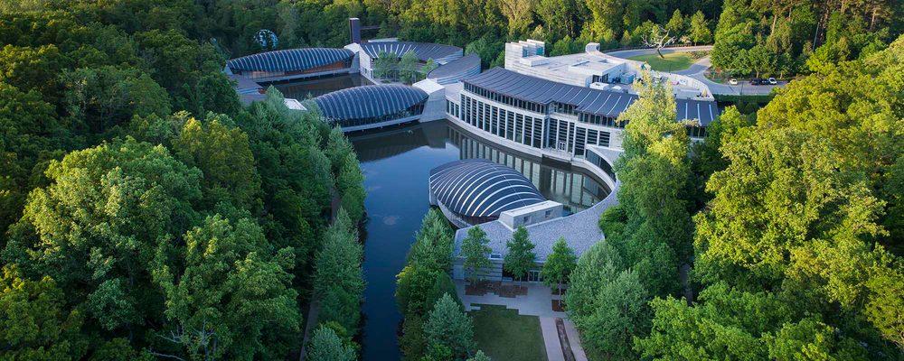 aerial photo of Crystal Bridges architecture