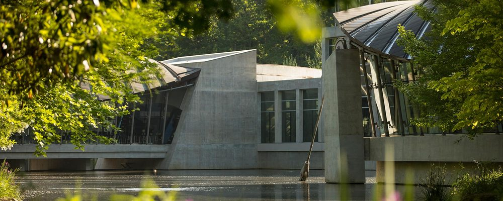 Crystal Bridges architecture and pond
