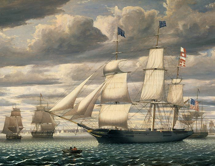 Ship Southern Cross in Boston Harbor by Fitz Henry Lane