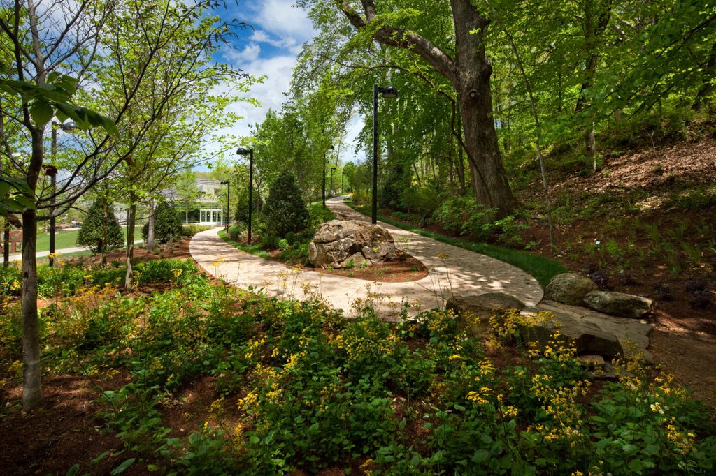 curved nature trail with green leafed trees and blooming flowers