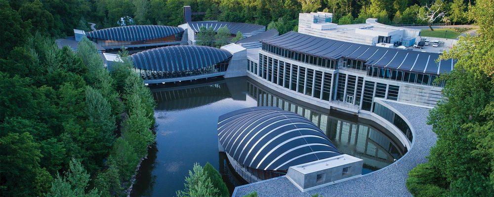 Aerial view of Crystal Bridges Museum of American Art