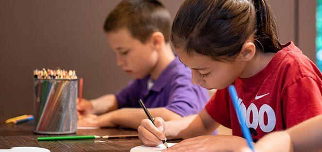 Children engaged in an art activity