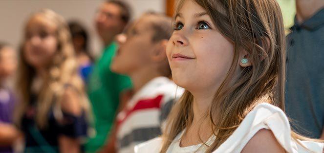 Child attending a Crystal Bridges public program