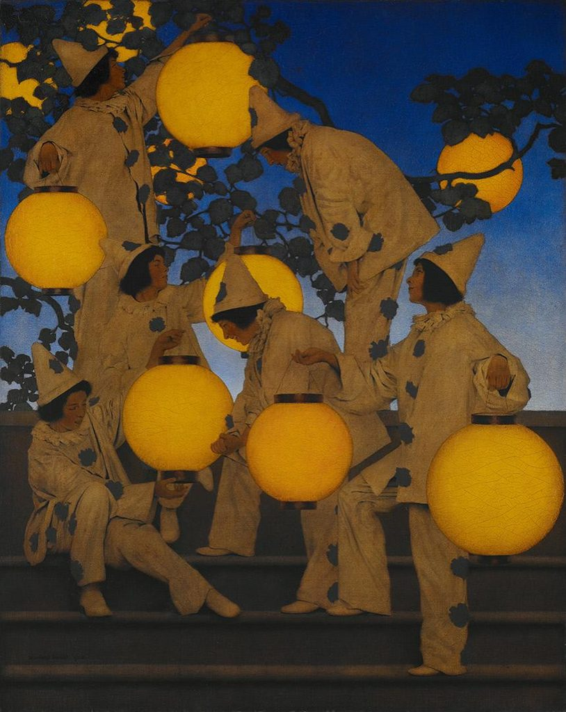 Maxfield Parrish, The Lantern Bearers, 1908, oil on canvas mounted on board.