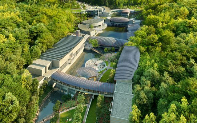 Aerial rendering of Crystal Bridges expansion