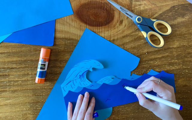 waves drawn on cut out colored paper