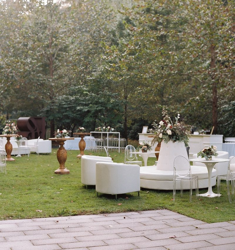 Chairs and tables outside on lawn