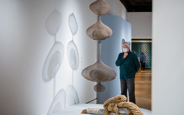 Guest viewing basket woven hanging sculpture