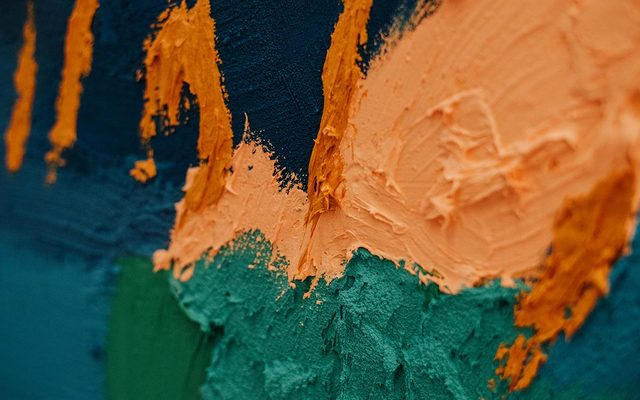 Detail of deeply textured painting by Thomas Coffey