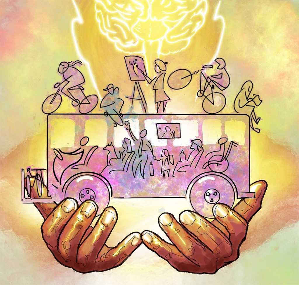Illustration of hands holding a bus filled with people