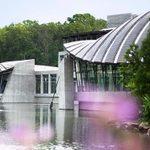 Crystal Bridges Museum viewed across the pond