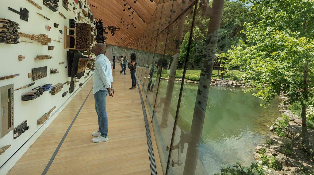 Visitors viewing art