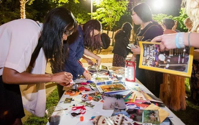 People making art outdoors