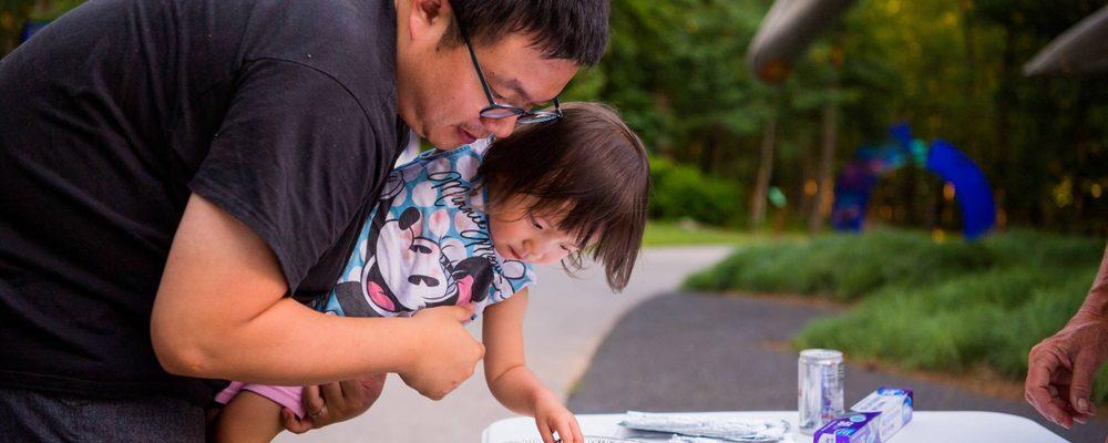 Dad and daughter artmaking
