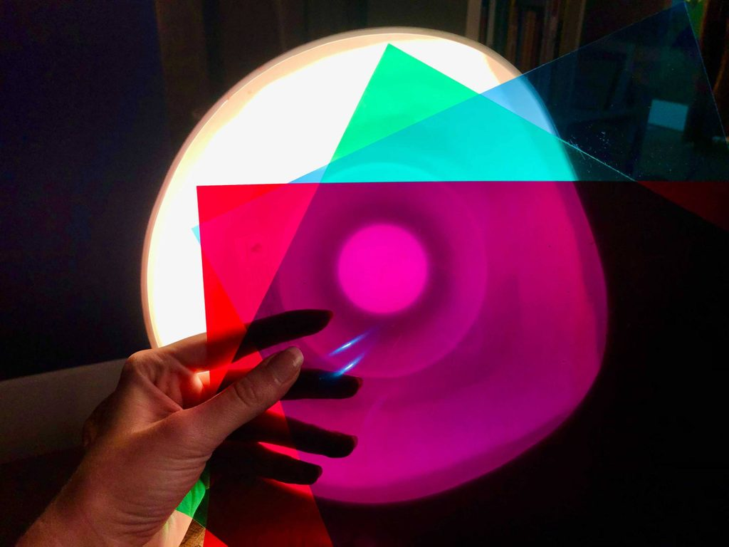 artmaking colors in front of light
