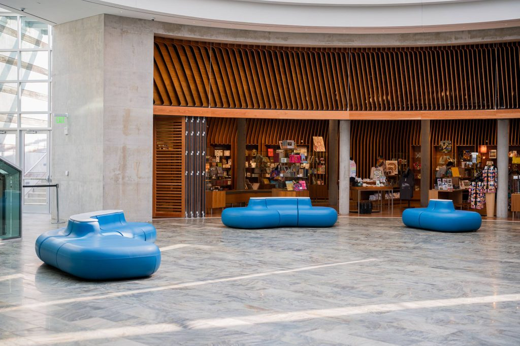 Seating in lobby outside museum store
