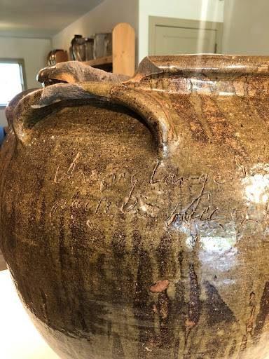 David Drake, Twenty-Five Gallon Four-Handled Stoneware Jar, 1858, stoneware with alkaline glaze, 24 ½ x 22 x 22 in. (detail)