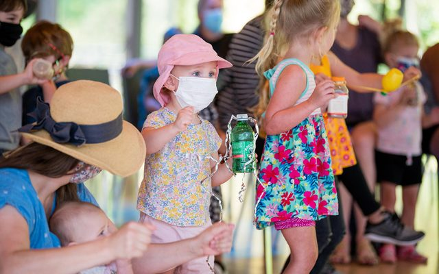 Preschool children wearing masking playing in the museum