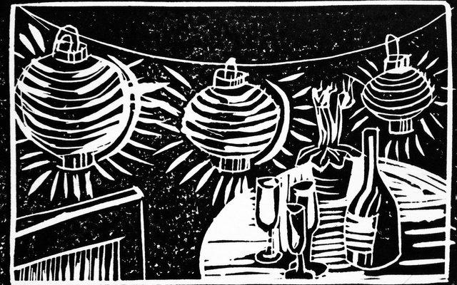 Linocut still life print